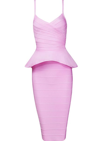 Pink Bandage Spaghetti Sexy Solid Party Dress