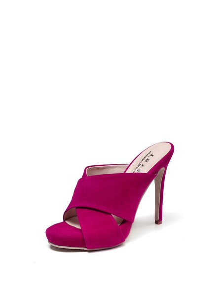 Fuchsia Suede Summer Dress Stiletto Heel Sandals