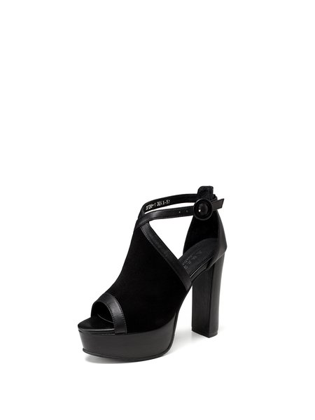 Black Dress Summer Suede Sandals