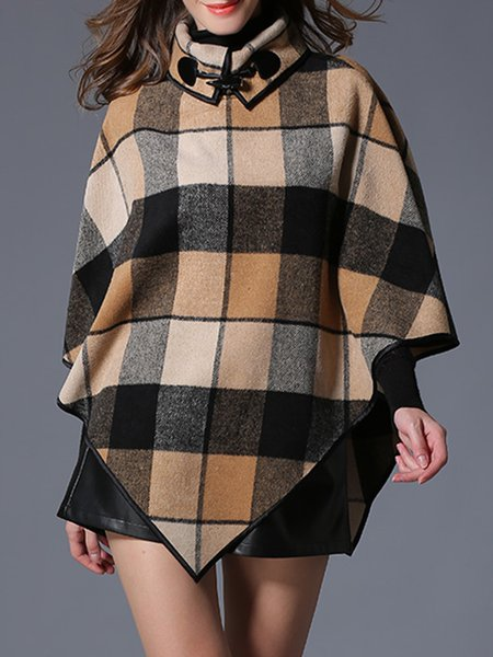 Khaki Casual Printed Acrylic Checkered/Plaid Poncho