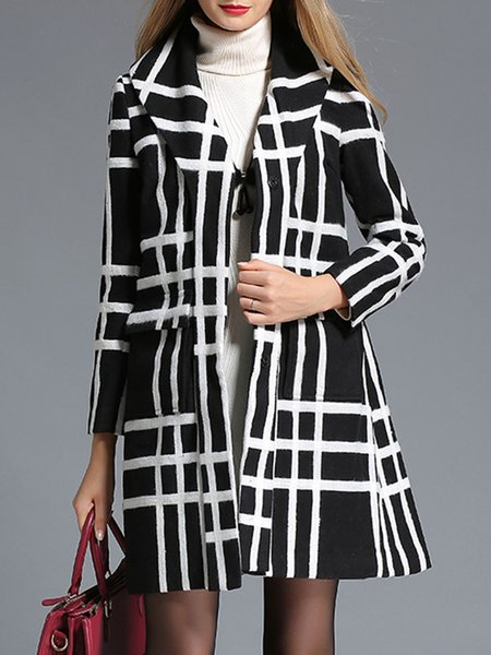 Checkered/Plaid Simple Long Sleeve A-line Coat