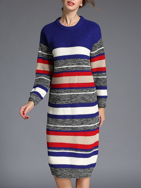 Multicolor Casual Stripes Knitted Sweater Dress