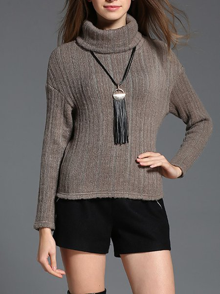 Gray Knitted Casual Turtleneck Plain Sweater