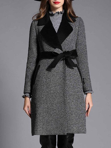 Black Pockets A-line Lapel Simple Coat with Belt