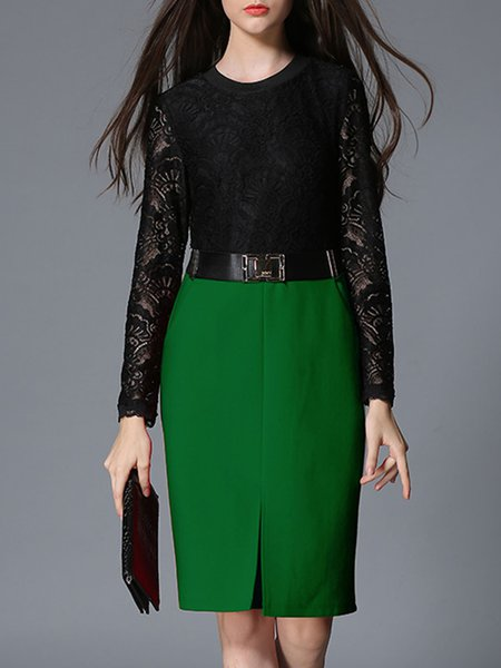 Green Crew Neck Sheath Lace Paneled Long Sleeve Midi Dress