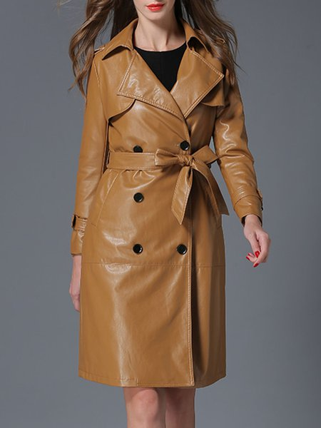 A-line Long Sleeve Simple Double Breasted Trench Coat