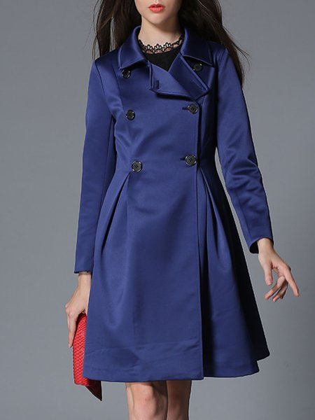 Long Sleeve Simple Double Breasted Folds Plain A-line Trench Coat