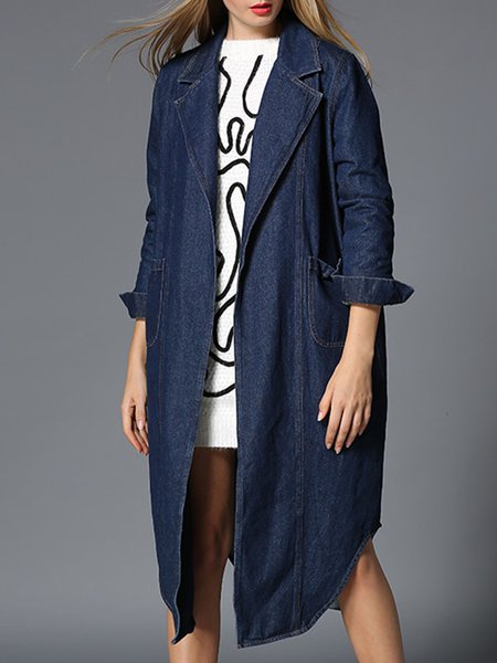 Casual Long Sleeve Denim Pockets Coat