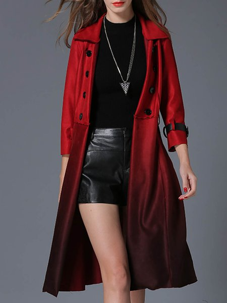 Red Long Sleeve Gradient  A-line Coat with Belt