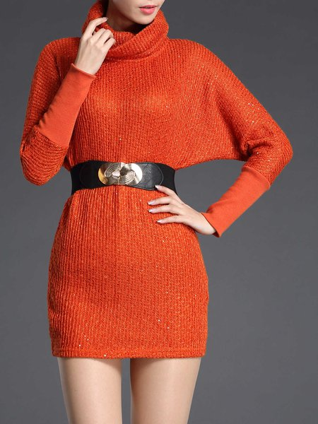 Sheath Casual Solid Turtleneck Sweater with Belt