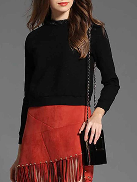 Black Stand Collar Plain Simple Long Sleeved Top