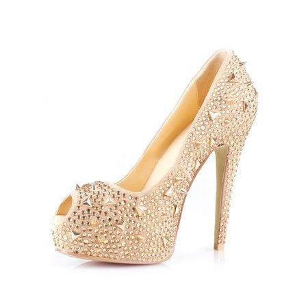 Champagne Party & Evening Stiletto Heel Rivet Heels