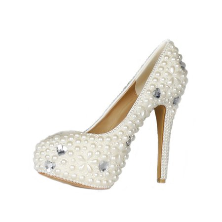White Party & Evening Spring/Fall Stiletto Heel Pearl Heels