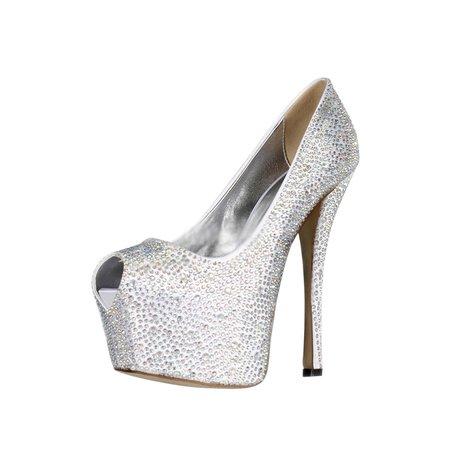 Silver Stiletto Heel Satin Rhinestone Heels