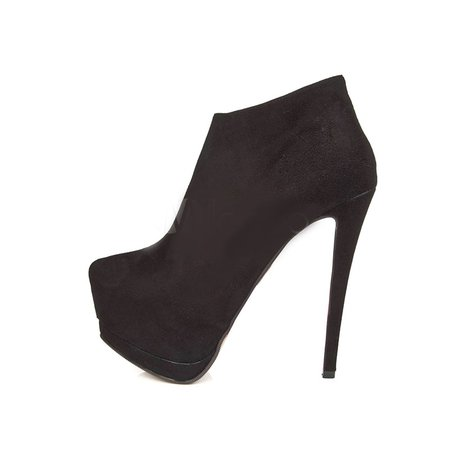 Black Platforml Zipper Stiletto Heel Suede Heels