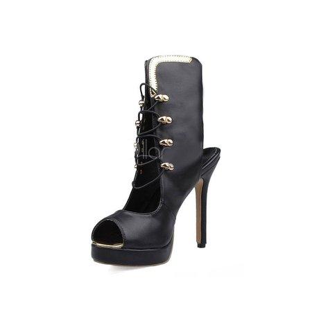 Peep Toe Black Lace-up Spring/Fall Stiletto Heel Heels