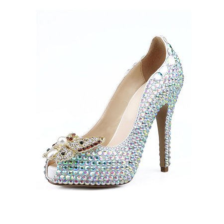 Green High Heel Spring/Fall Rhinestone Wedding Heels