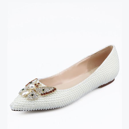 White Flat Heel PU Wedding Spring/Fall Flats