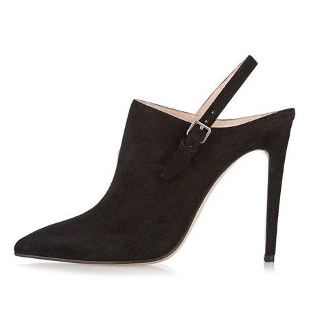 Black Suede Stiletto Heel Buckle Heels