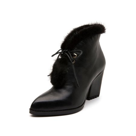 Black Spring/Fall Casual Leather Fur Chunky Heel Boots