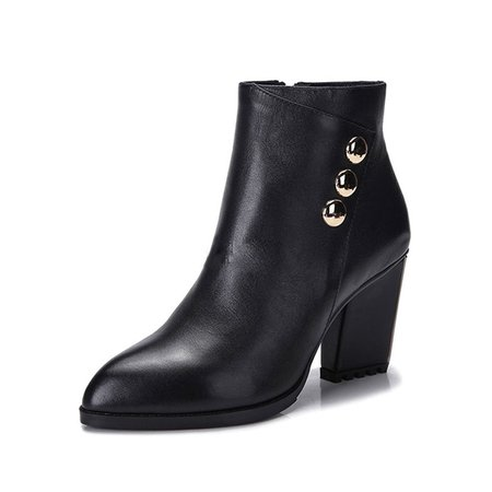 Black Casual Leather Boots
