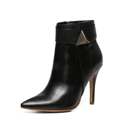 Black Stiletto Heel Spring/Fall Leather Boots