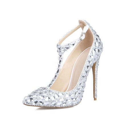 Silver Wedding Stiletto Heel Rhinestone Heels