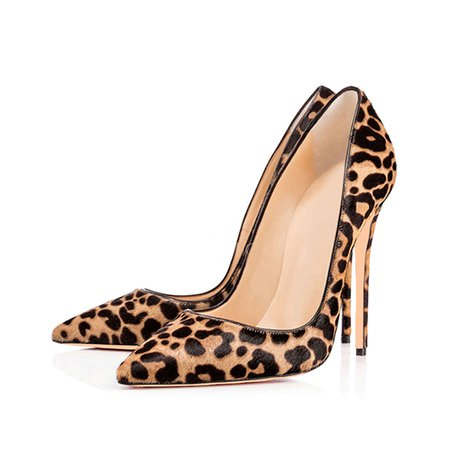 Yellow Stiletto Heel Animal Print Faux Fur Heels