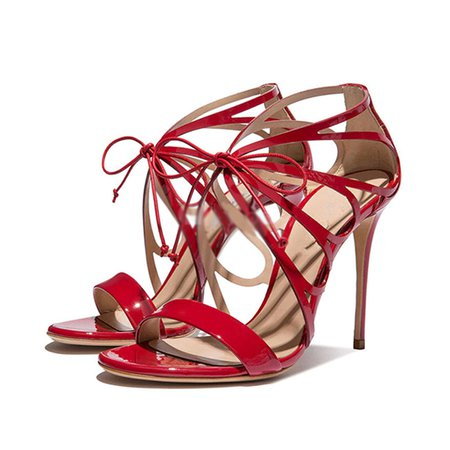 Red Lace-up Stiletto Heel Spring/Fall Heels