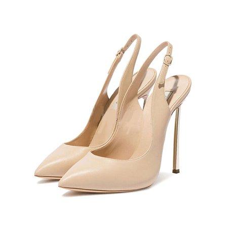 Leather Stiletto Heel Summer Buckle Sling back Sandals
