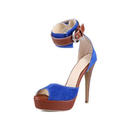 Royal Blue Suede Buckle Stiletto Heel Casual Summer Sandals