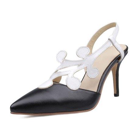 Black Spring/Fall Stiletto Heel Leather Heels