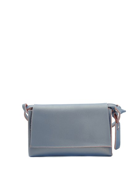 Solid Cowhide Leather Casual Fold-over Flat Top Crossbody Bag