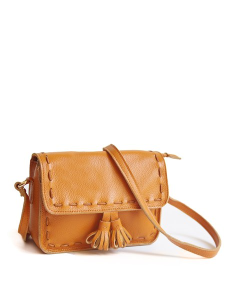 Brown Casual Fold-over Flat Top Cowhide Leather Crossbody Bag