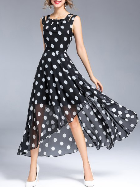 Slit Casual Polka Dots Crew Neck Sleeveless Maxi Dress