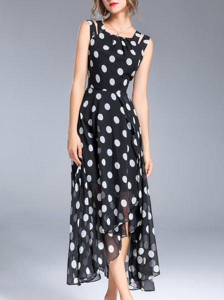 Slit Casual Polka Dots Crew Neck Sleeveless Maxi Dress