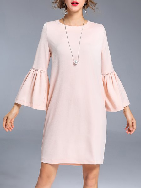 Pink H-line Solid Bell Sleeve Mini Dress