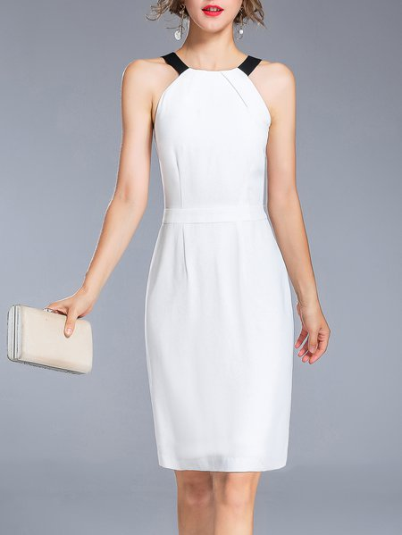 White Elegant Halter Midi Dress