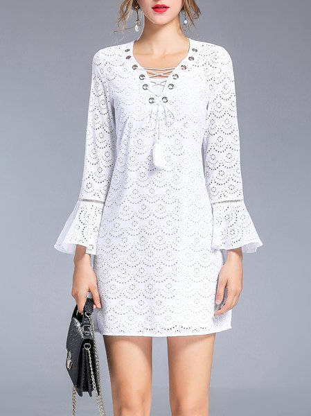White V Neck Bell Sleeve Two Piece Mini Dress