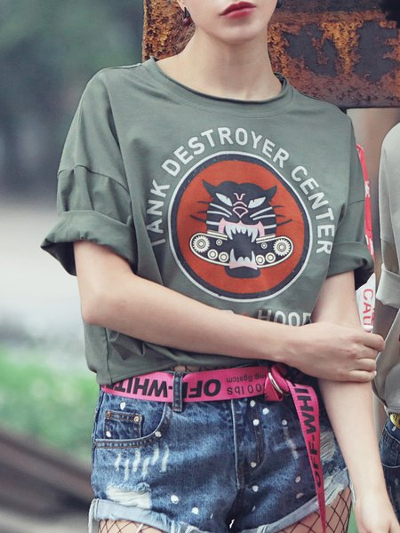 Printed Batwing Crew Neck Casual T-Shirt