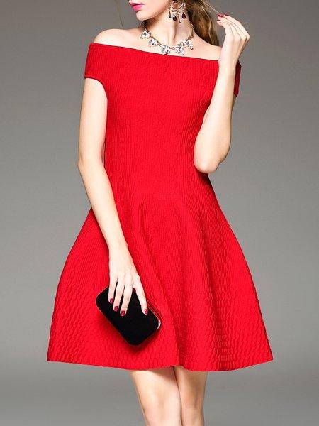 Red Off Shoulder Knitted Short Sleeve Evening Dress