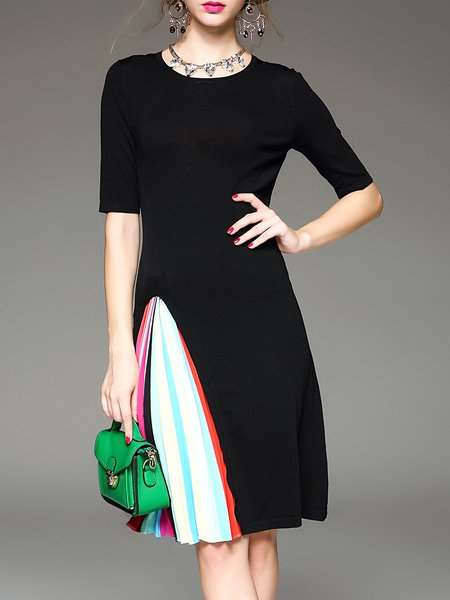 Black Knitted Half Sleeve Paneled Midi Dress