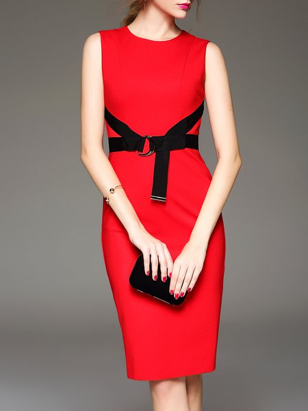 Red Bodycon Sleeveless Elegant Zipper Midi Dress