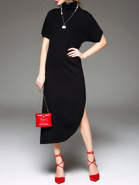 Black Knitted Short Sleeve Slit Midi Dress