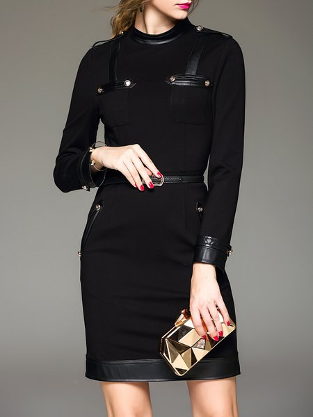 Black Simple Paneled Bodycon Midi Dress