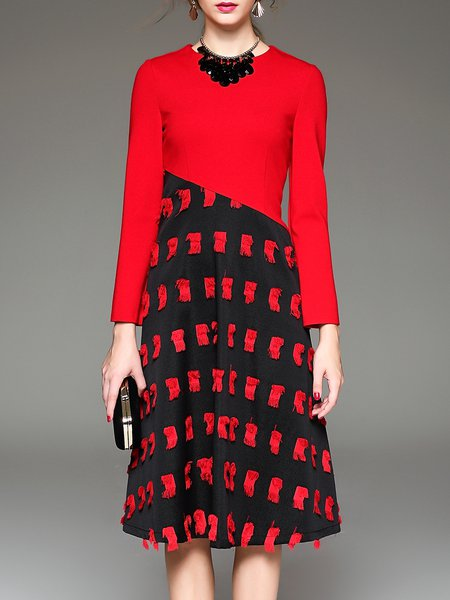 Red Knitted A-line Jacquard Long Sleeve Midi Dress