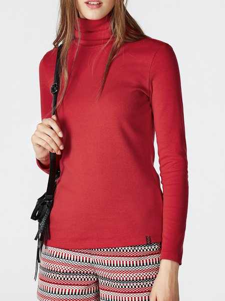 Red Simple Solid Turtleneck Long Sleeved Top