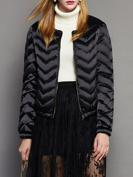 Black Simple Ribbed Solid Down Coat
