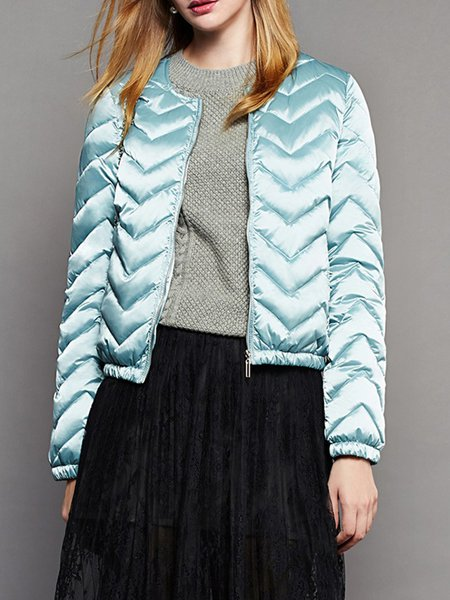 Blue Long Sleeve Ribbed Down Coat
