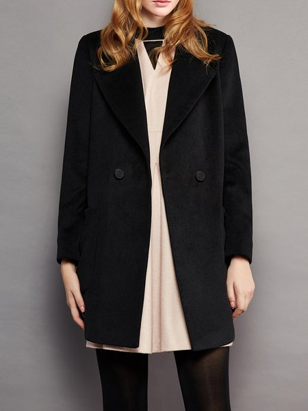 Black Lapel Pockets H-line Long Sleeve Coat